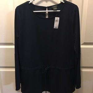 ANNE TAYLOR PEPLUM NAVY TOP NWT